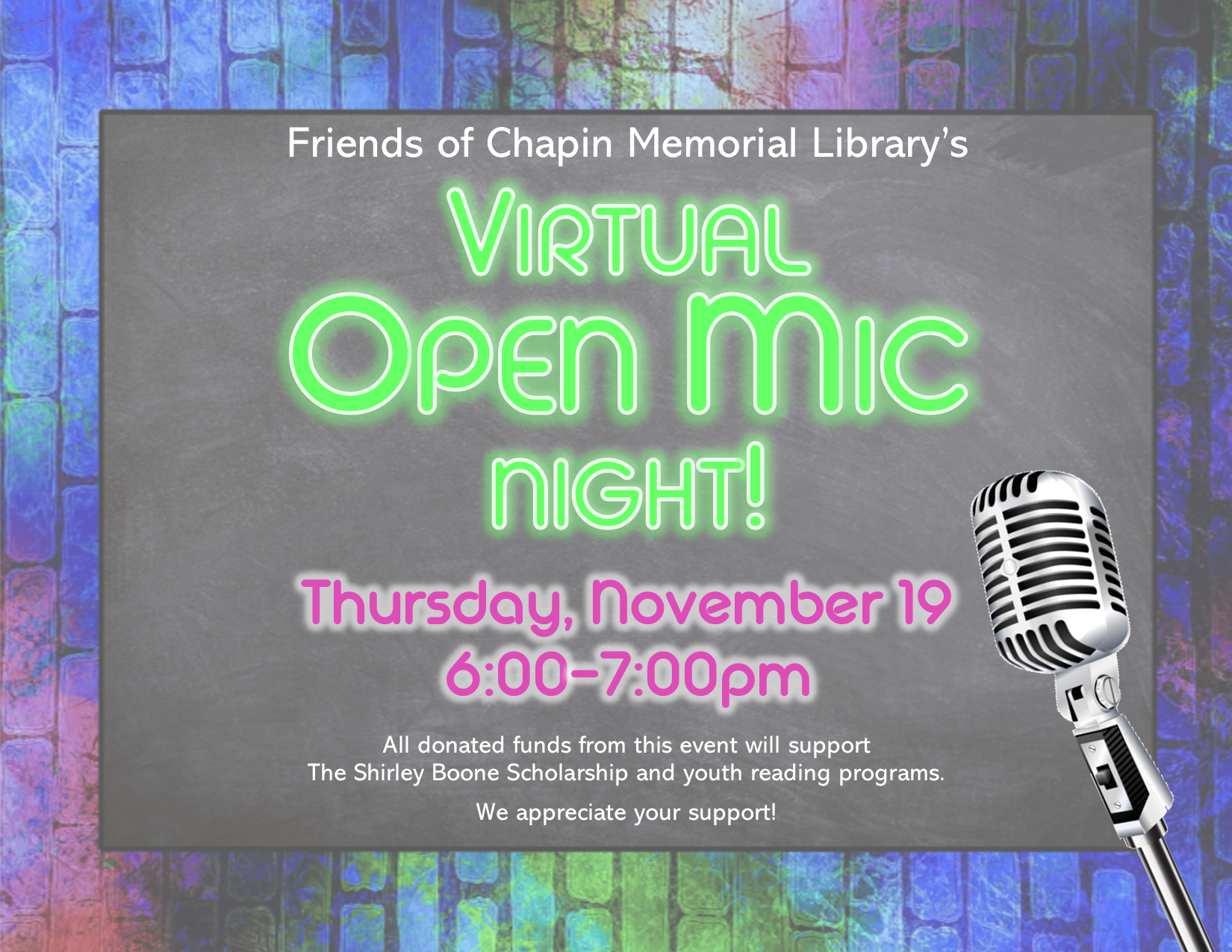 Virtual Open Mic Night hosted by Friends of CML