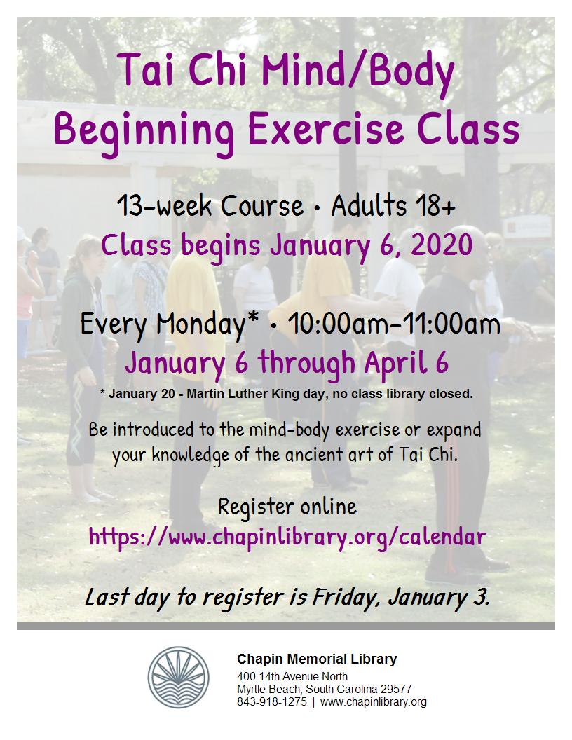Tai Chi Mind/Body Beginning Exercise Class